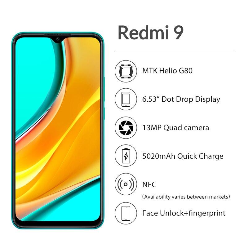 """Оригинальная глобальная версия смартфона Redmi 9 4 Гб 64 Гб 6,53 """"FHD + Dot Drop Display Helio G80 Octa core 5020mAh Quick Charge Face"""