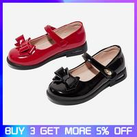 Spring Girls Bow Mary Jane Toddler Genuine Leather Soft Sole Flat Children Princess Dress Shoes Party Dance Shoes For Kids