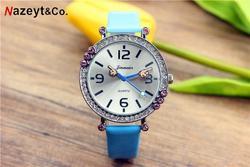 Студенческие часы с бриллиантовым указателем на палец, новые модные милые детские часы с кожаным ремешком