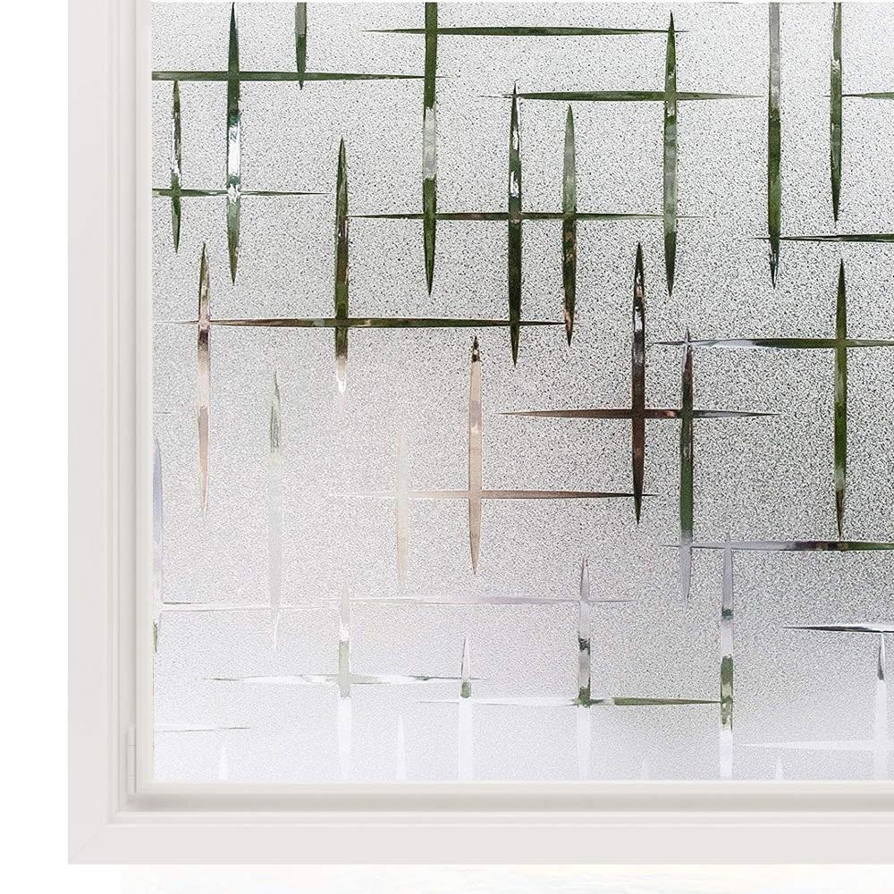 LUCKYYJ 3D Window Privacy Film Static Window Clings Vinyl Window Decals Window Sticker For Glass Door Home Heat Control Anti UV