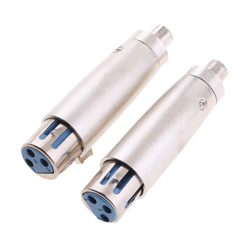 3 Pin XLR Female Socket To Female RCA Phono Socket Mic Mixer Audio Adapter