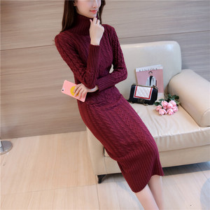 Image 5 - Autumn Winter Europe and United States Vintage womens wool dress thickening knit dress Casual Knitted Sweater Dresses 2019