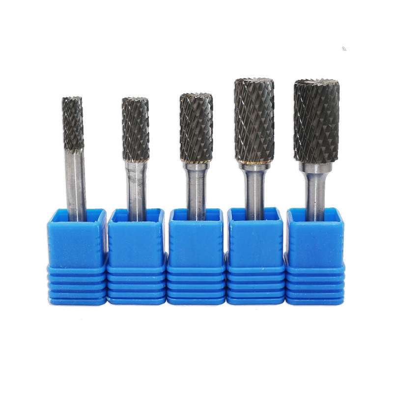 5Pcs Set Carbide Rotary Cylinder Head Double Oxide Steel Rolling Knife Engraving Grinding Head Tool