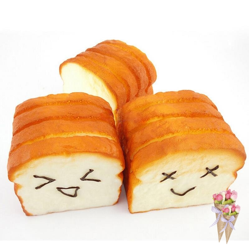 1 Kawaii Jumbo Toast Bread Squishy Super Slow Rising Holder Scent Soft Bun Charms Food Collectibles Kitchen Toys