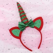 Christmas Hairband for Girls Glitter Red Green Striped Horn Unicorn Hair Hoop with Ears Headband Festival Hair Accessories цена