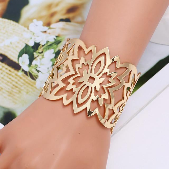 Купить lzhlq металлический широкий браслет геометрические полые браслеты