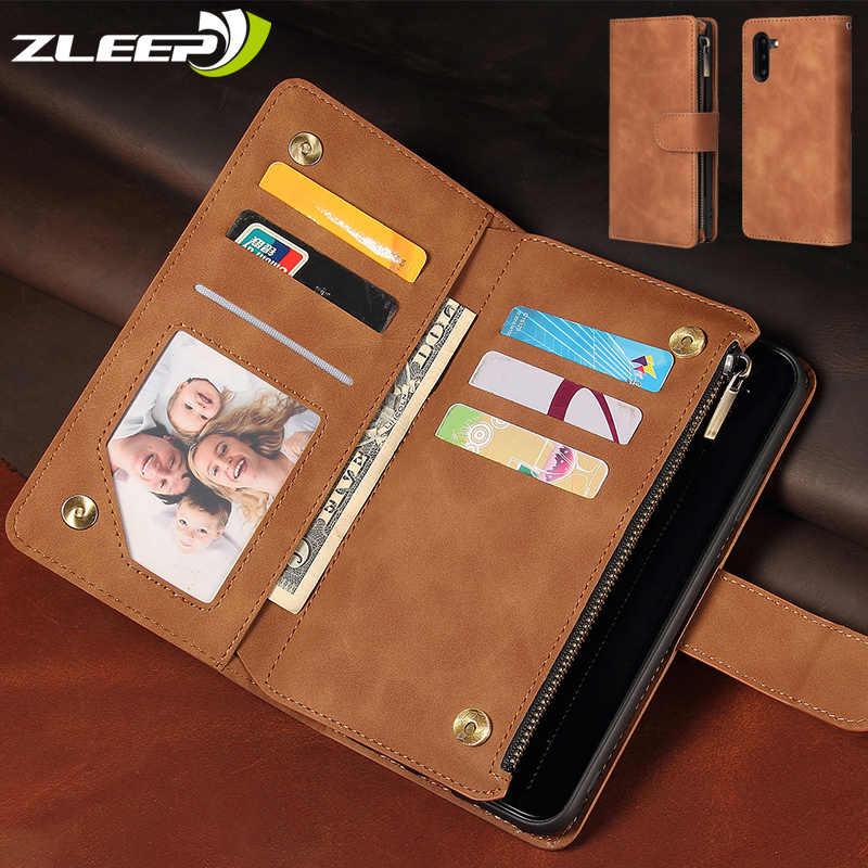 الفاخرة محفظة جلدية A70 A50 s A40 سستة حقيبة لهاتف سامسونج غالاكسي S8 S9 S10 E ملاحظة 9 10 زائد A10 M10 A20 A30 s M30 الهاتف غطاء