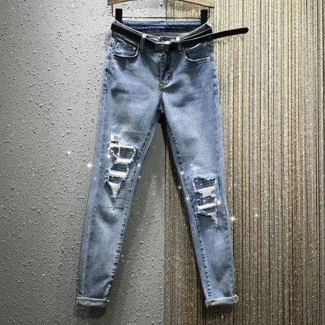 European Stye Jeans Woman 2020 Spring New High-Waist Ripped Hot Drilling Stretch Rolled Feet Jeans Pencil Pants Women's Jean ---