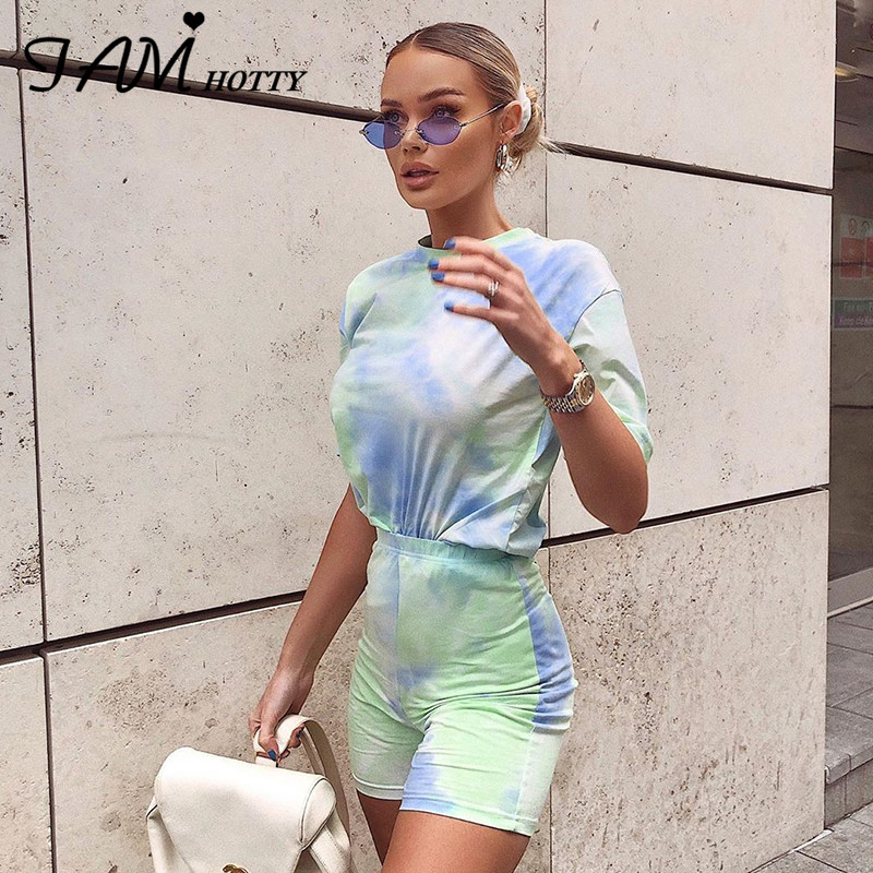 IAMHOTTY Tie Dye Print Basic Tshirt Shorts Two Piece Set Women Casual Outfits lounge Wear Jogging Femme Biker Shorts Tees Summ(China)