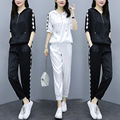 Women's Sports and Leisure Suit 2021 New Women's Clothing Summer Large Size Plump Girls Fashionable Breathable Two-Piece Suit