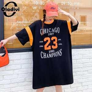 Oladivi surdimensionné grande taille femmes coton chemise robe dames mode lettre imprimer décontracté tunique ample robes haut pour fille t-shirt 9XL 8XL