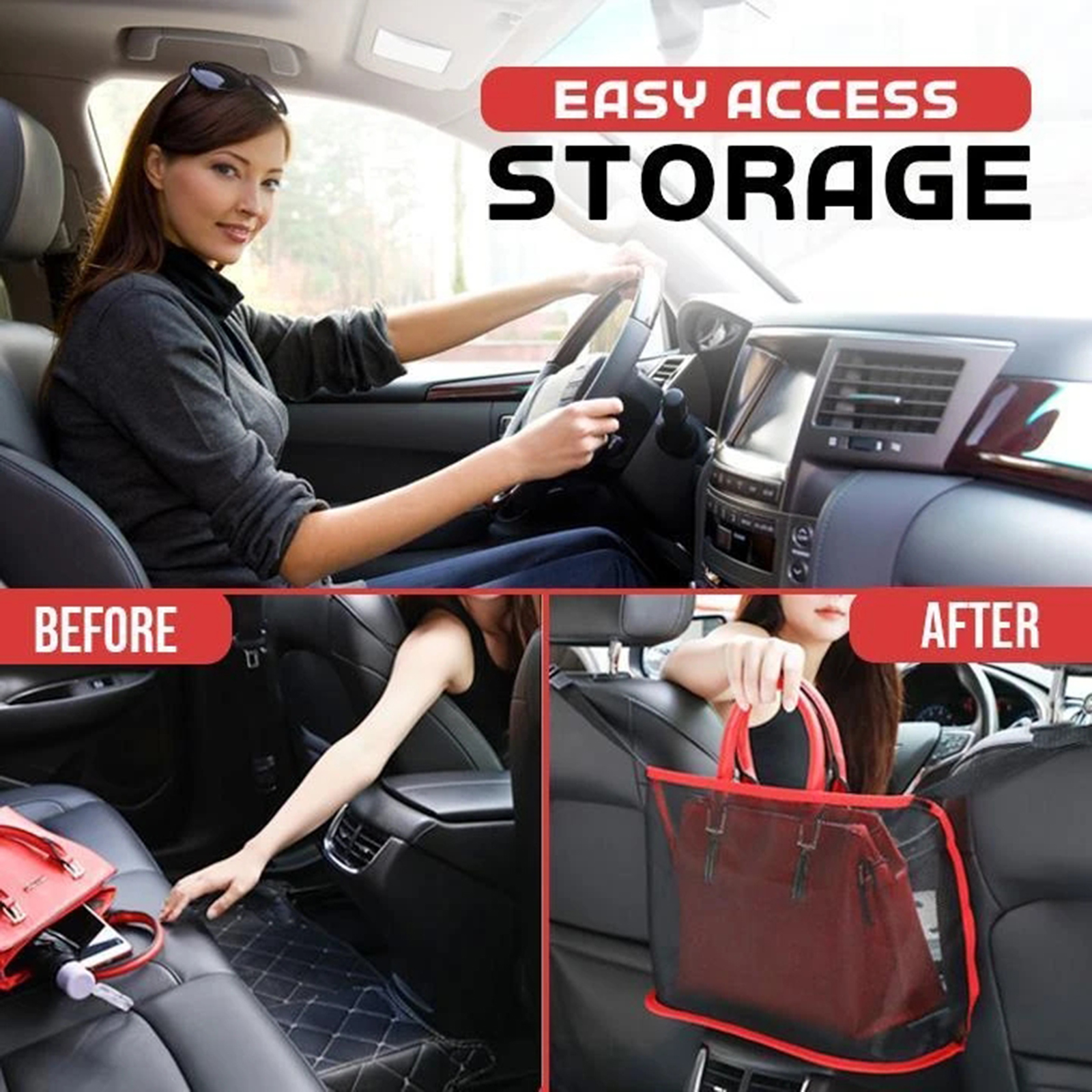 Car Net Pocket Handbag Holder for Handbag Bag Documents Phone Valuable Items(handbag shown in picture is not included) 1