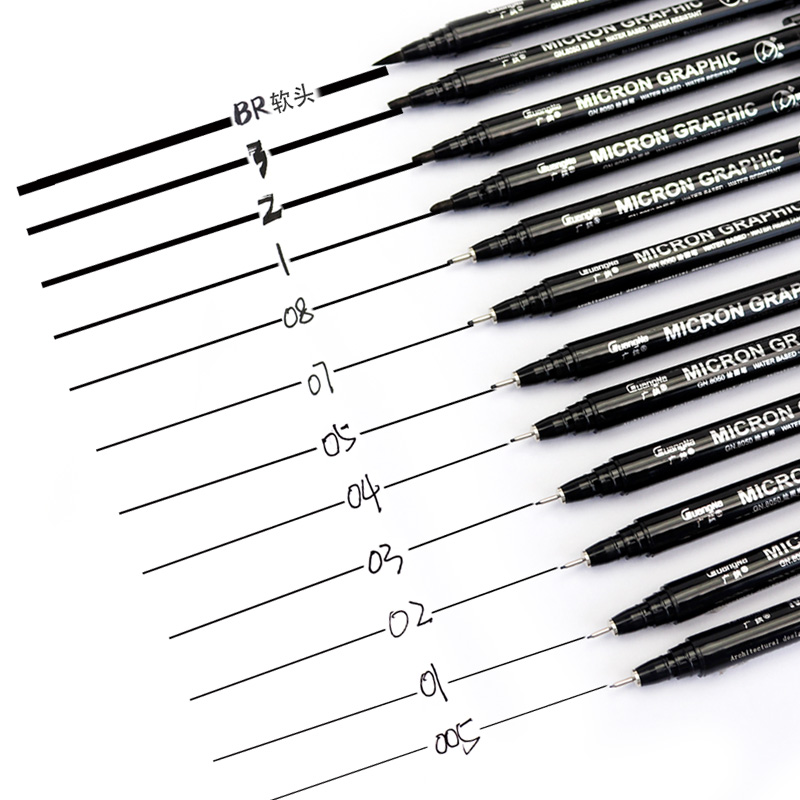 Guangna 8050 Micron Graphic Design Art Painting Needle Pen 005 01 02 03 04 05 07 08 1.0 2.0 3.0 Brush Pen Fine Point Mapping