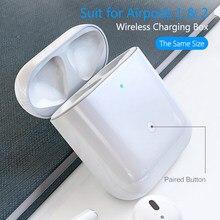 Caso de carregamento para airpods 450mah caixa de carregamento emparelhamento pop up janelas capa para apple air pods 1 & 2 carregador sem fio airpod caso