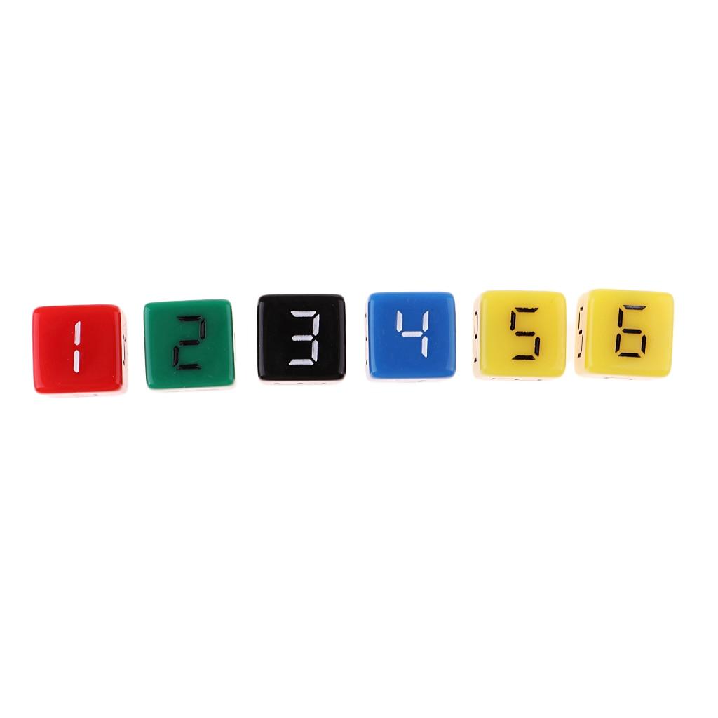 25x шестигранные D6 игральные кости 1-6 цифровые игральные кости 5 видов цветов для любителей азартных игр