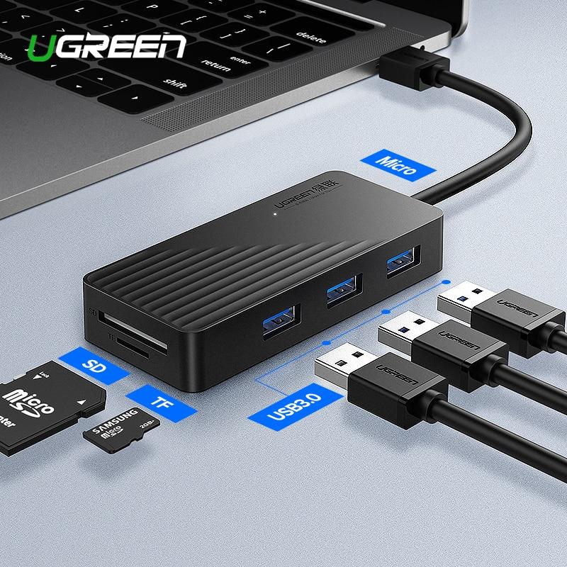Ugreen 5-en-1 moyeu USB avec lecteur de carte 3 ports USB 3.0 répartiteur de moyeu Micro USB Port d'alimentation pour iMac accessoires d'ordinateur portable HUB USB