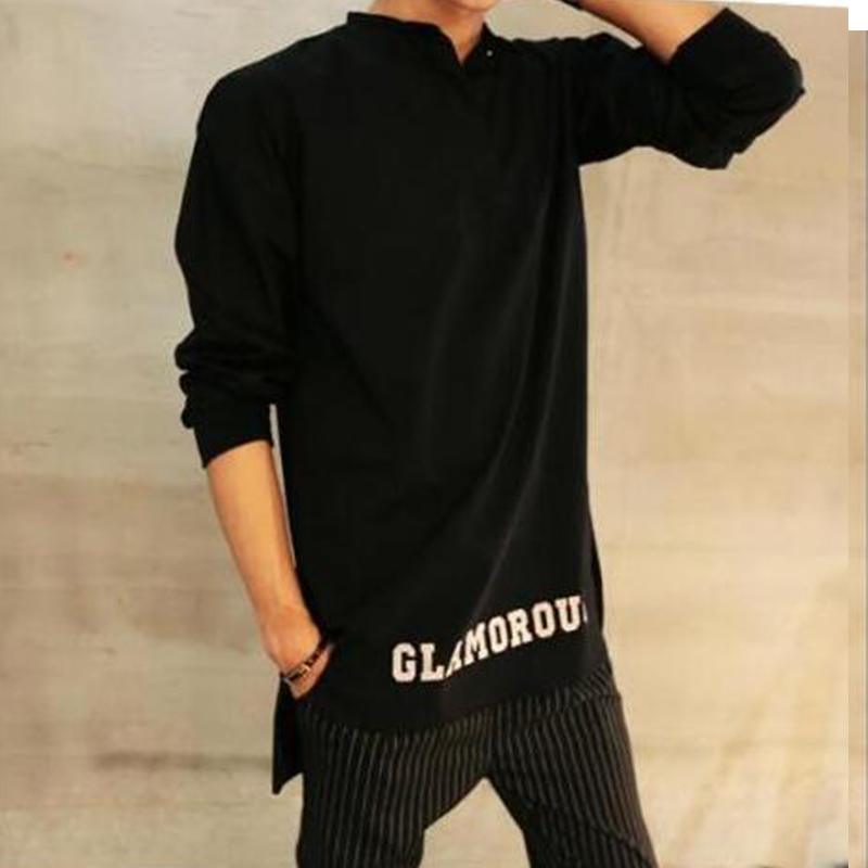 European And American Style Original Tide Men's Collar Long-sleeved Thick Large Size T-shirt Short Before Long Autumn And Winter