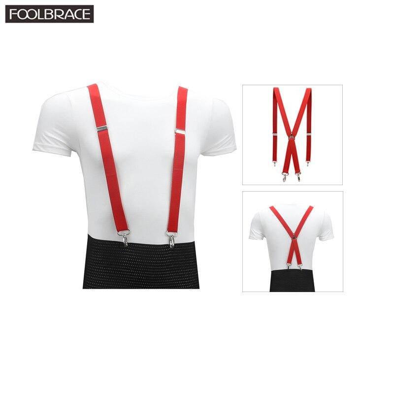 4 Clips Hook Solid Colored Men's Suspenders  Men/Women 2.5cm Women's Pants With Adjustable Suspenders