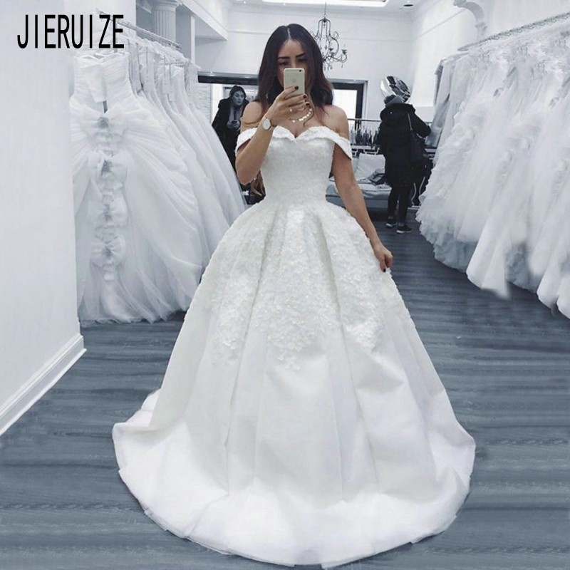 JIERUIZE White Princess Wedding Dresses Off Shoulder Lace Up Back Bride Dresses With Appliques Wedding Gowns Robe De Mariee