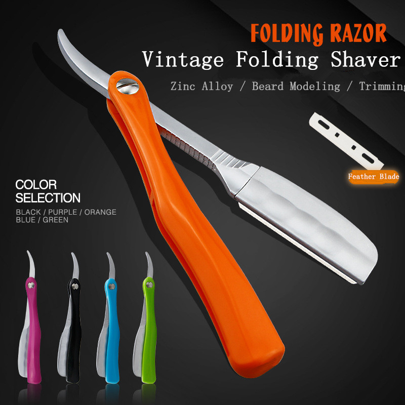 Japanese Feather Razor Vintage Manual Change Blade Shaving Razor Retro Folding Knife Holder Men Shaving Barber Tools G1105