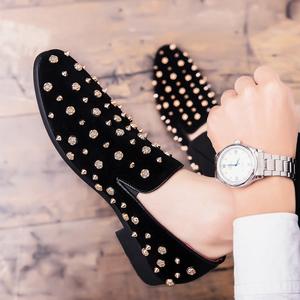 Image 3 - Mens Loafers Luxury Shoes Casual Men Shoes Brand  Sapato Masculino Frosted Studded Leather Shoes High Quality Zapatos De Hombre