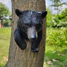 55 дюйма украшение для дерева черного медведя hugger/peeker/скульптура