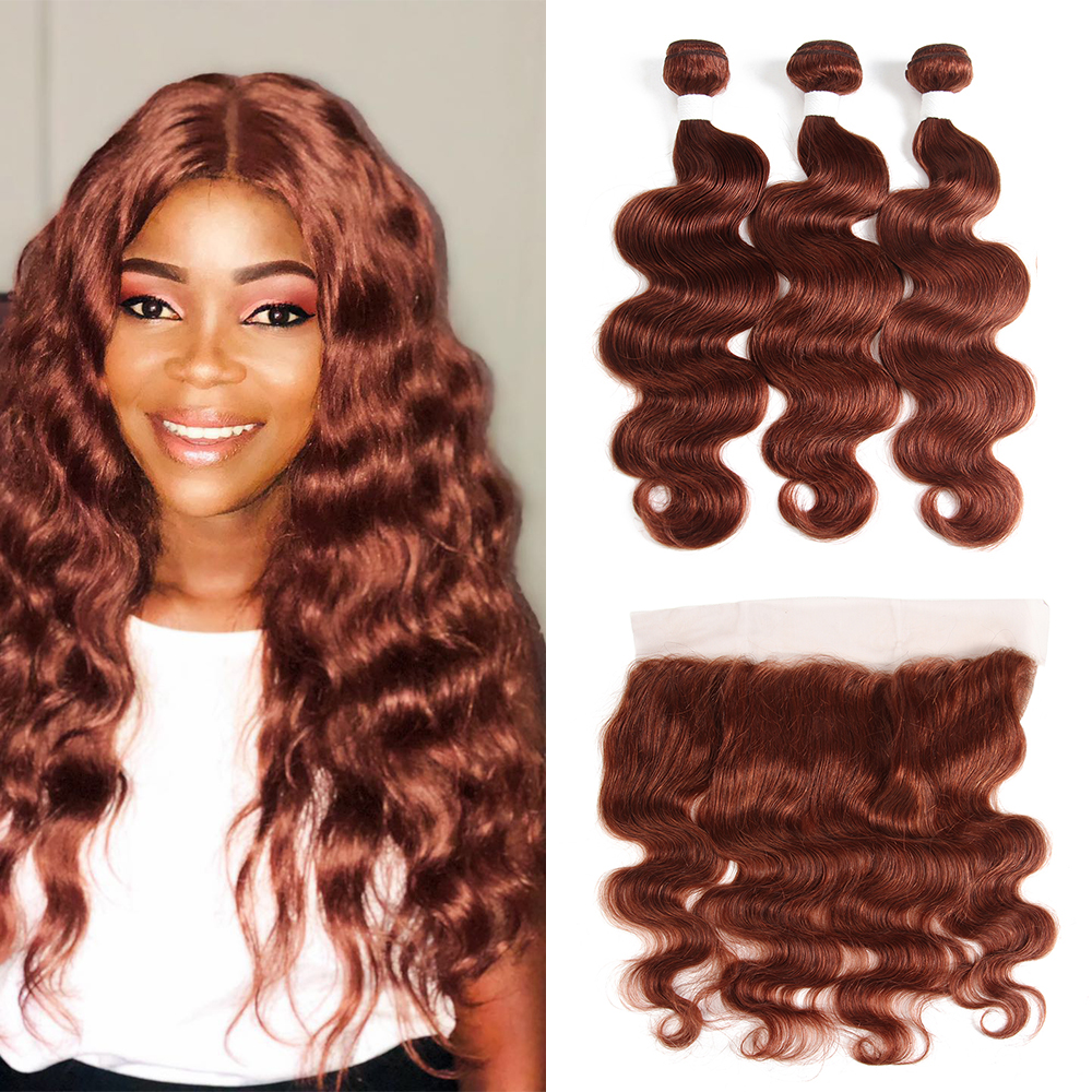 Brown Auburn Brazilian Body Wave Human Hair Bundles With Frontal 13x4 KEMY HAIR 3PCS Non-Remy Human Hair Weave Bundles