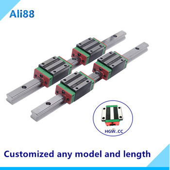 2 pcs 25mm linear rail HGR25 1050/1100/1150mm linear guide and 4 pcs HGH25CA or HGW25CC linear bearing blocks for cnc parts