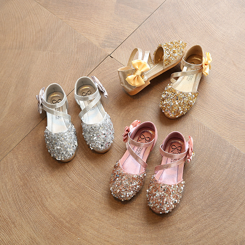 LOOZYKIT Gold Silver Pink Children Leather Shoes Casual Girls Princess Flat Heel Party Fashion Sequins Bow Pearl Kids Shoes