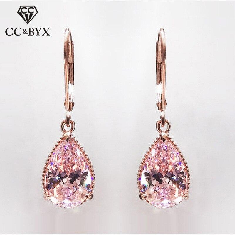 Серьги-подвески женские розовые в форме капли, висячие ювелирные украшения для невесты, свадьбы, цвета розового золота с кубическим циркони...