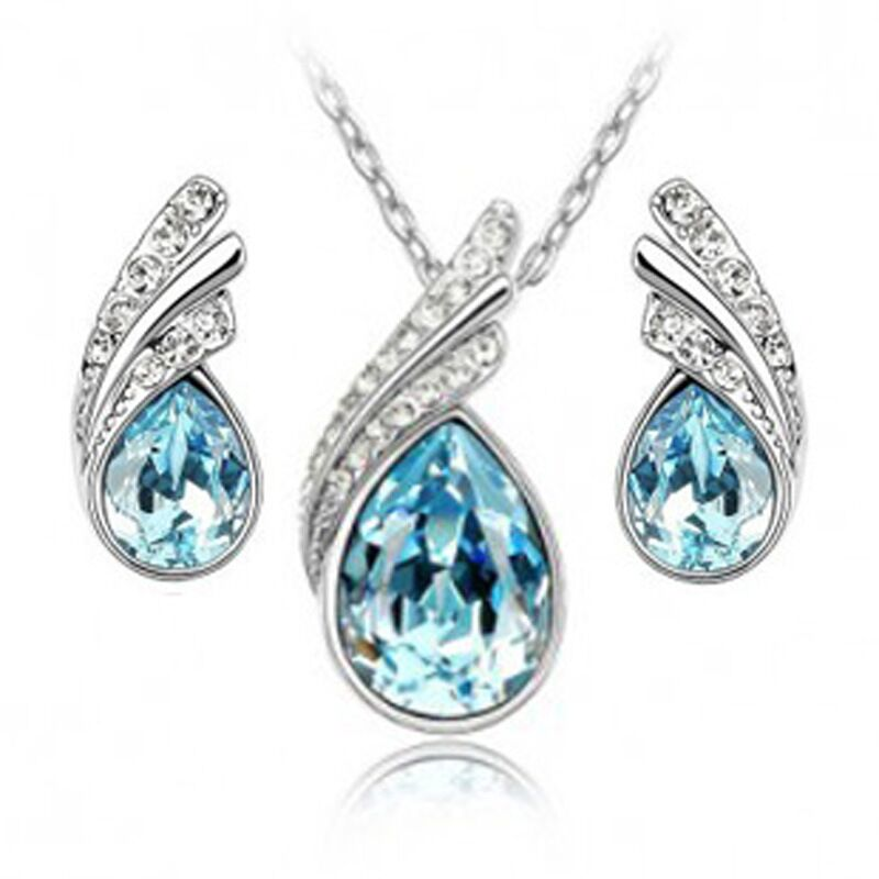 QiLeSen Fine jewelry 925 sterling silver suitable for ladies wedding sea blue crystal set necklace earrings set yw021
