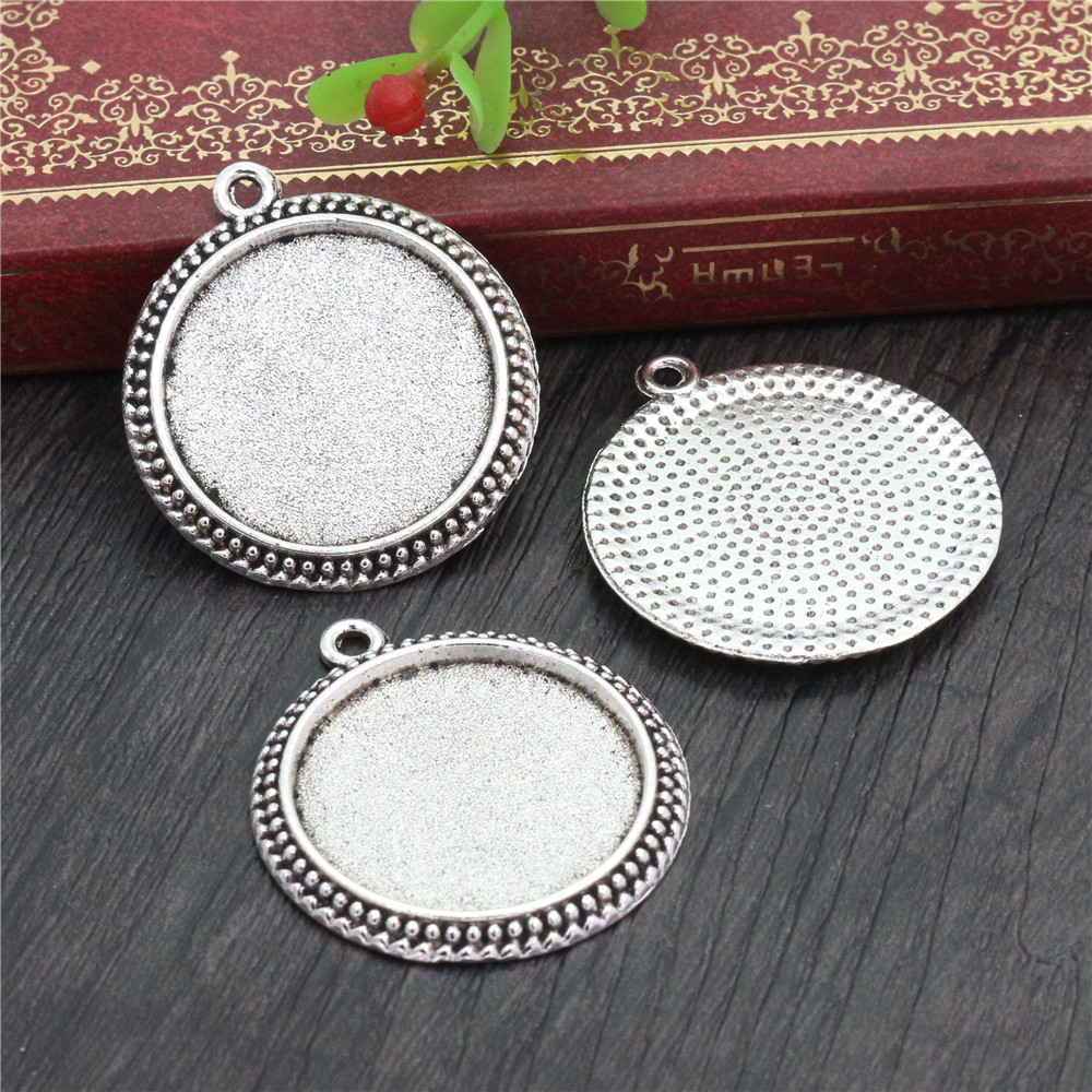 New Fashion  3pcs 25mm Inner Size Antique Silver Plated Vintage Cabochon Base Setting Charms Pendant (A4-41)