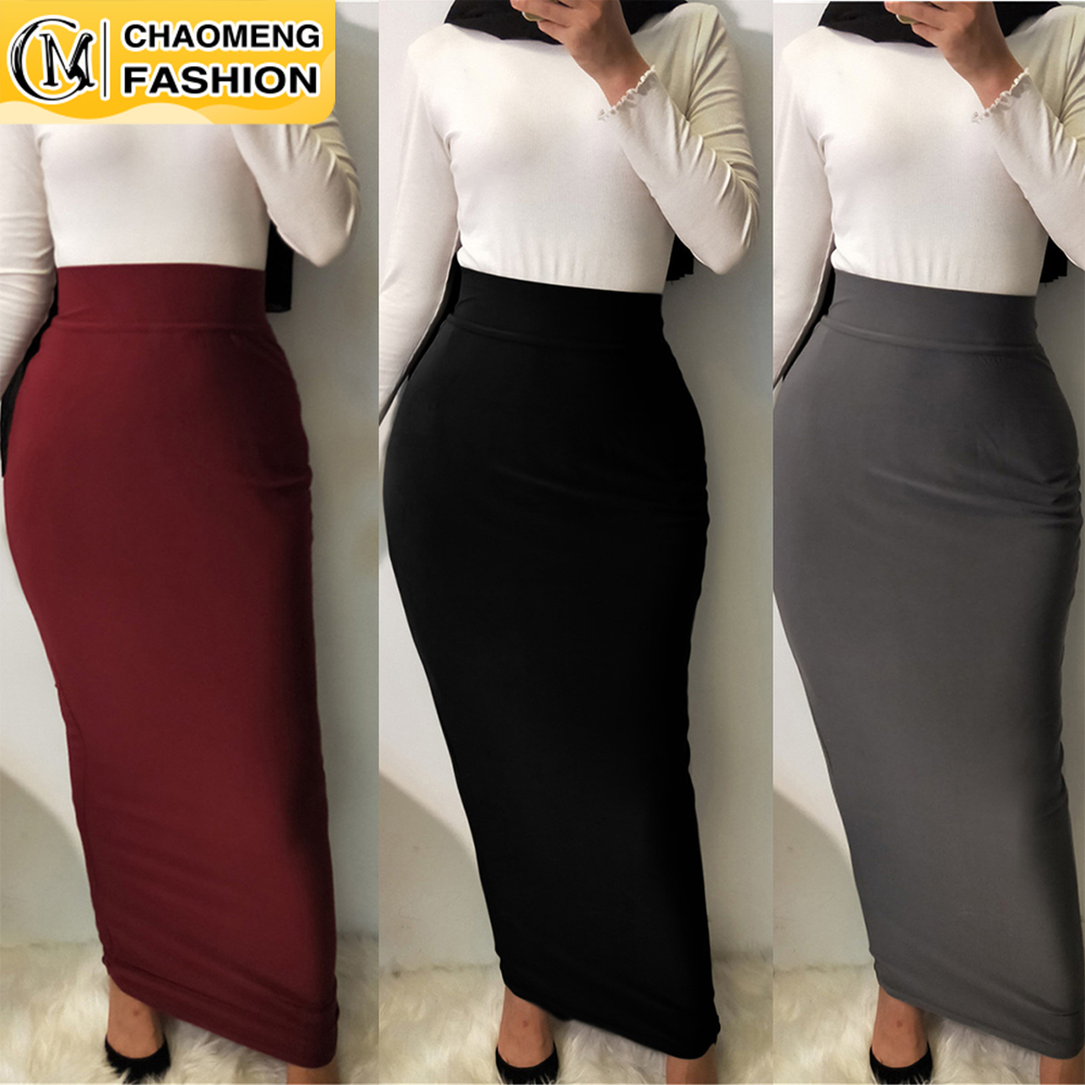 Faldas Largas Mujer Moda High Waist Pencil Long Skirt Musulm For Women Maxi Vestidos Jupe Longue Femme Elegant Modest Clothing