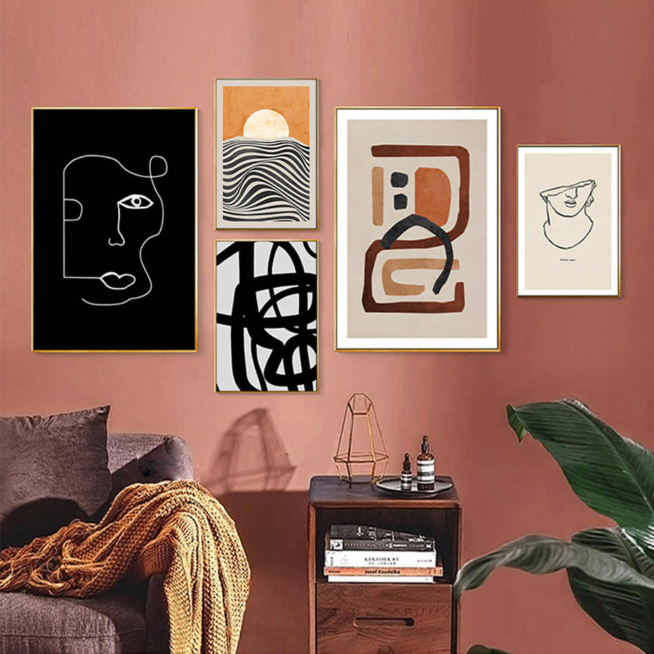 트렌디 한 추상 기하학적 캔버스 회화 인테리어 벽 아트 포스터 및 인쇄 빈티지 그림 거실 홈 장식
