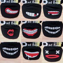 Unisex Black Gentleman Anti-Dust Cotton Cute Bear Anime Cartoon Mouth Mask Kpop Teeth Mouth Muffle Face Mouth Masks Women Men