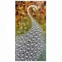 Modern Abstract Painting Peacock Flaunting its Tail Oil Hand Paint 3D Hand Painted On Canvas Abstract Artwork Art oil on canvas