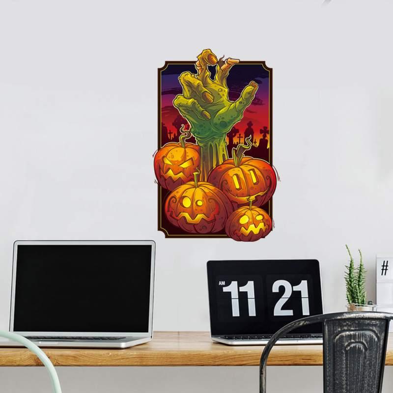 Наклейки на тему Хэллоуина стикер для холодильника Тыква призрак ручная Наклейка на стену гостиная художественное оформление стены в спал... - 4