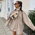 Новинка, осенне-зимняя женская куртка с длинными рукавами, воротник с лацканами, однотонная, негабаритная, теплая, утолщенная, Женское пальт...