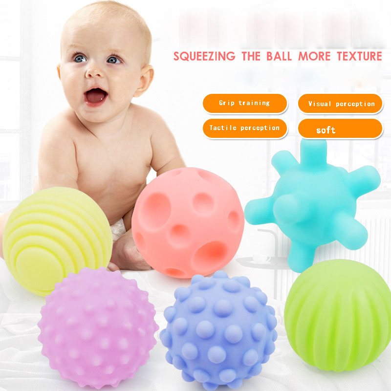 6pcs/Set Funny Soft Rubber Pinch Player Catch Ball Learn Climbing Ball Toys Teether Design for Baby