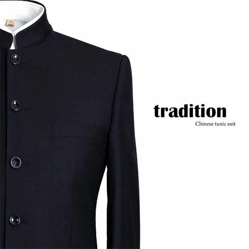 الرجال الدعاوى كبيرة حجم الصينية الماندرين طوق الذكور دعوى صالح سليم السترة الزفاف Terno سهرة 2 قطعة سترة وبانت
