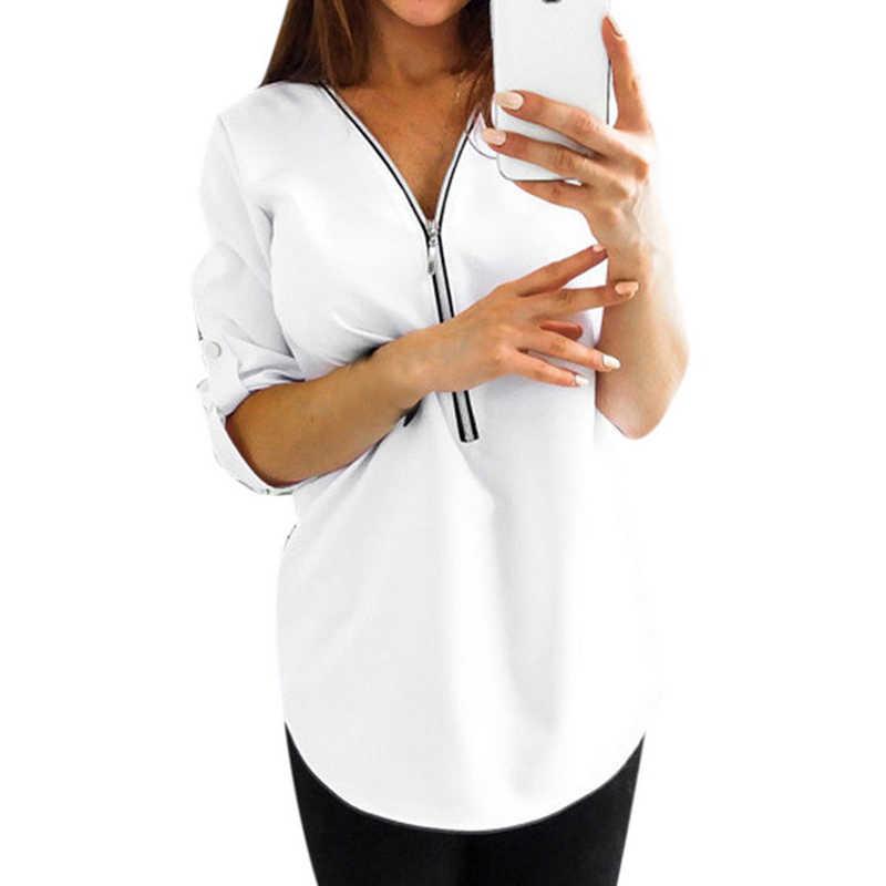 เซ็กซี่ V คอเสื้อผู้หญิงเสื้อฤดูใบไม้ร่วงเสื้อ Zipper เสื้อลำลองเสื้อ Mujer TOP PLUS ขนาด 4XL Blusas Mujer De Moda 2019