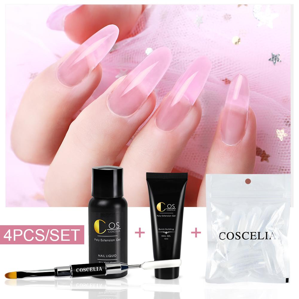 COSCELIA Poly Extention Gel Set LED UV Gel Varnish Nail Polish Art Kit Quick Building For Nails Extensions Jelly Gel