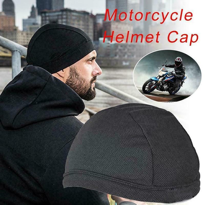 Solid Grey Nylon Dome Helmet Liner Cap Headwrap Biker Sports