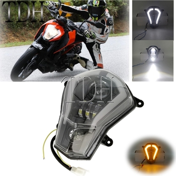 LED Headlight Assembly Enduro MX Dual Sport Head Lamp With Angel Eyes DRL Running Light For KTM Duke 125 200 250 390 2011-2016 image