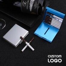 Индивидуальный чехол для двойной сигареты, лазерная гравировка логотипа, металлический контейнер для хранения сигарет, индивидуальный под...