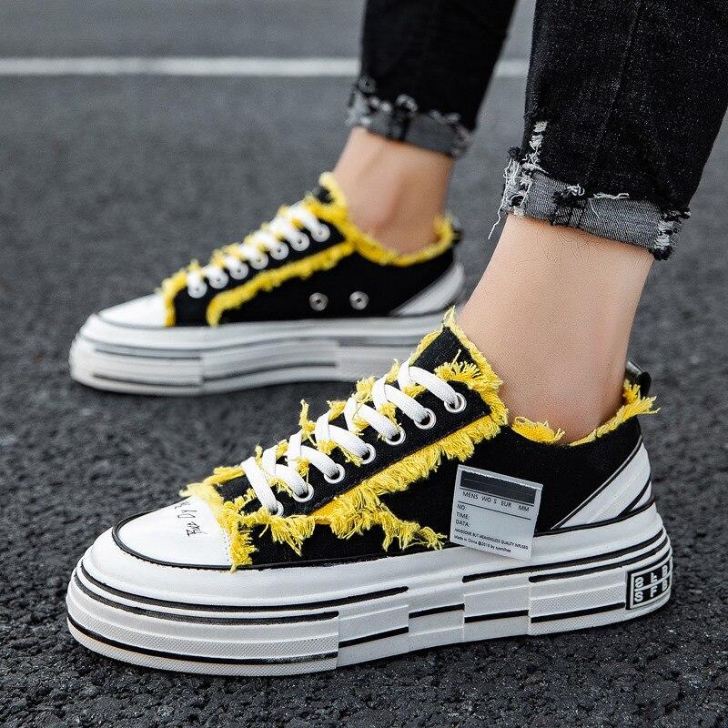 Vulcaniser chaussure décontractée Homme toile chaussures Zapatos De Hombre Snap Sneaker Homme