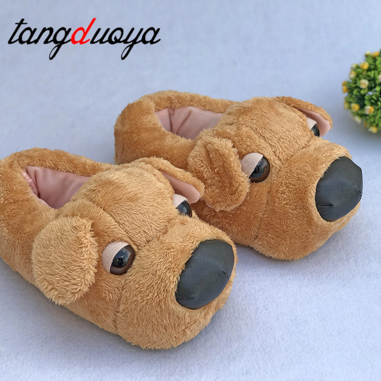Cute Cartton Dog Unisex Winter Indoor Slippers Cotton Shoes Women Men Slip On Lazy Home Shoes Lovers Couple Floor Shoes image
