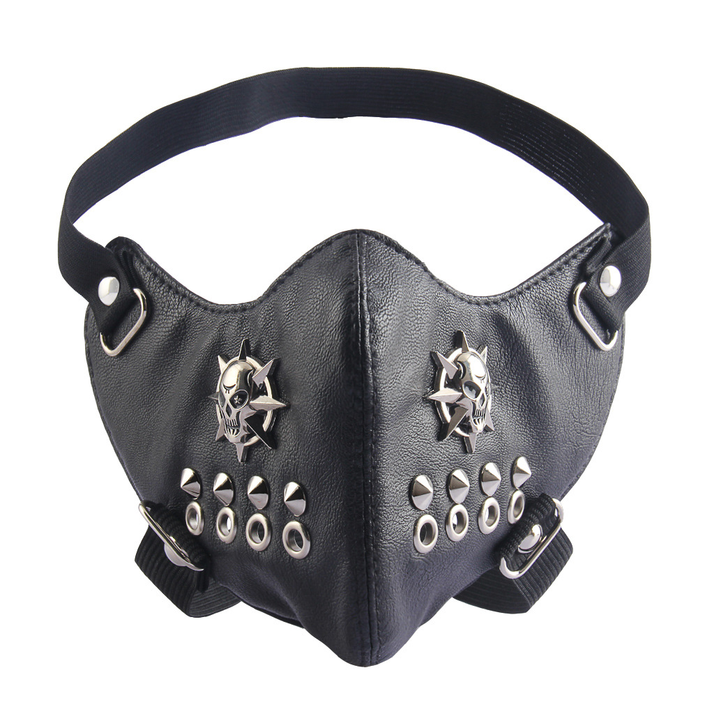 Cool PU Leather motorcycle face mask Punk rivet half face mask Halloween Cosplay party leather Mask Rock style moto casco mask