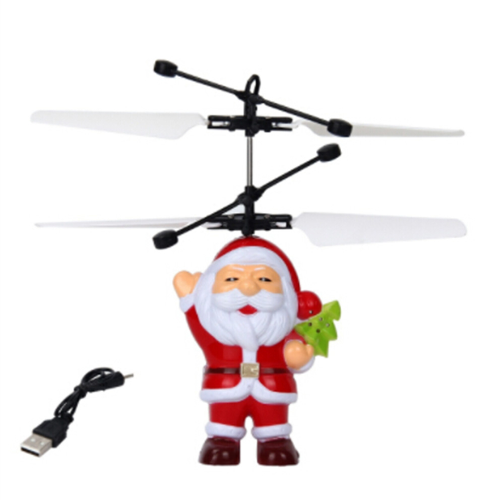 Creative Santa Claus Shape Induction USB Charging Aircraft Toy Led Light Mini Funny RC Airplanes Toys Children's Christmas Gift