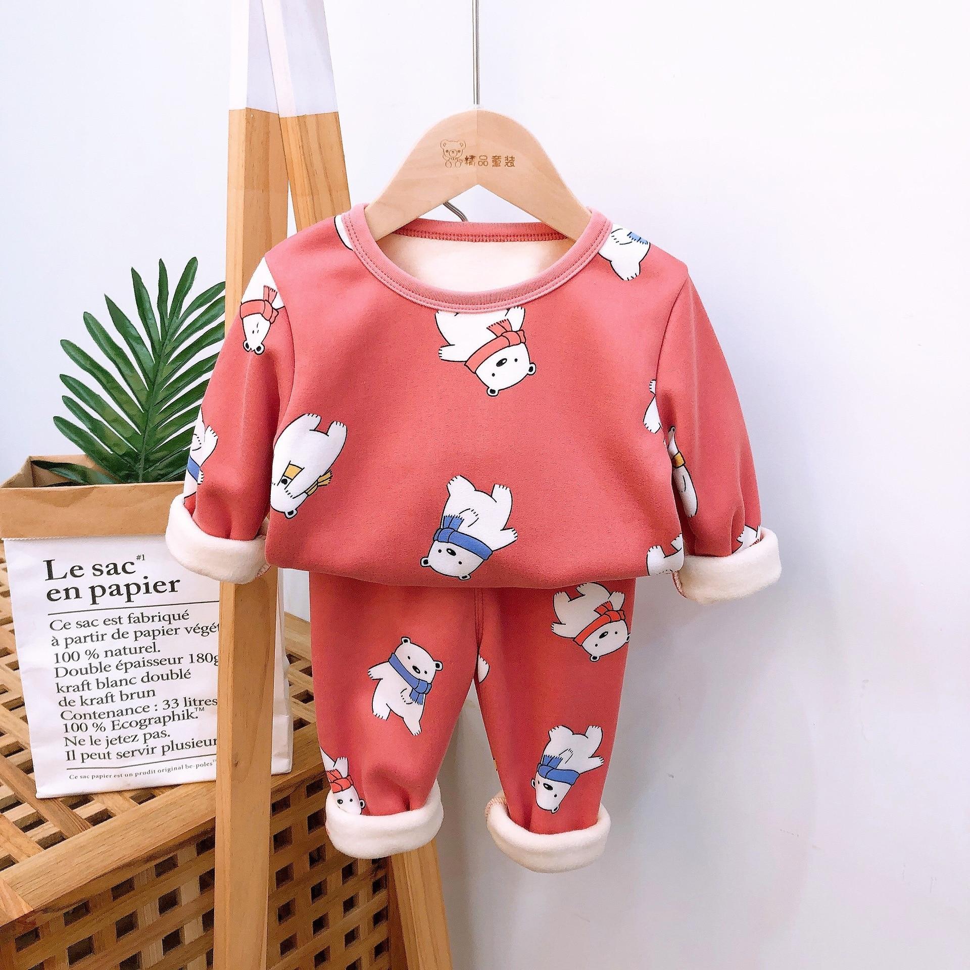 2020 Autumn Winter Thicken Velvet Children Pajamas Cartoon Family Boys Girls Clothing Set Kids Casual Sleepwear Suits Clothes 5